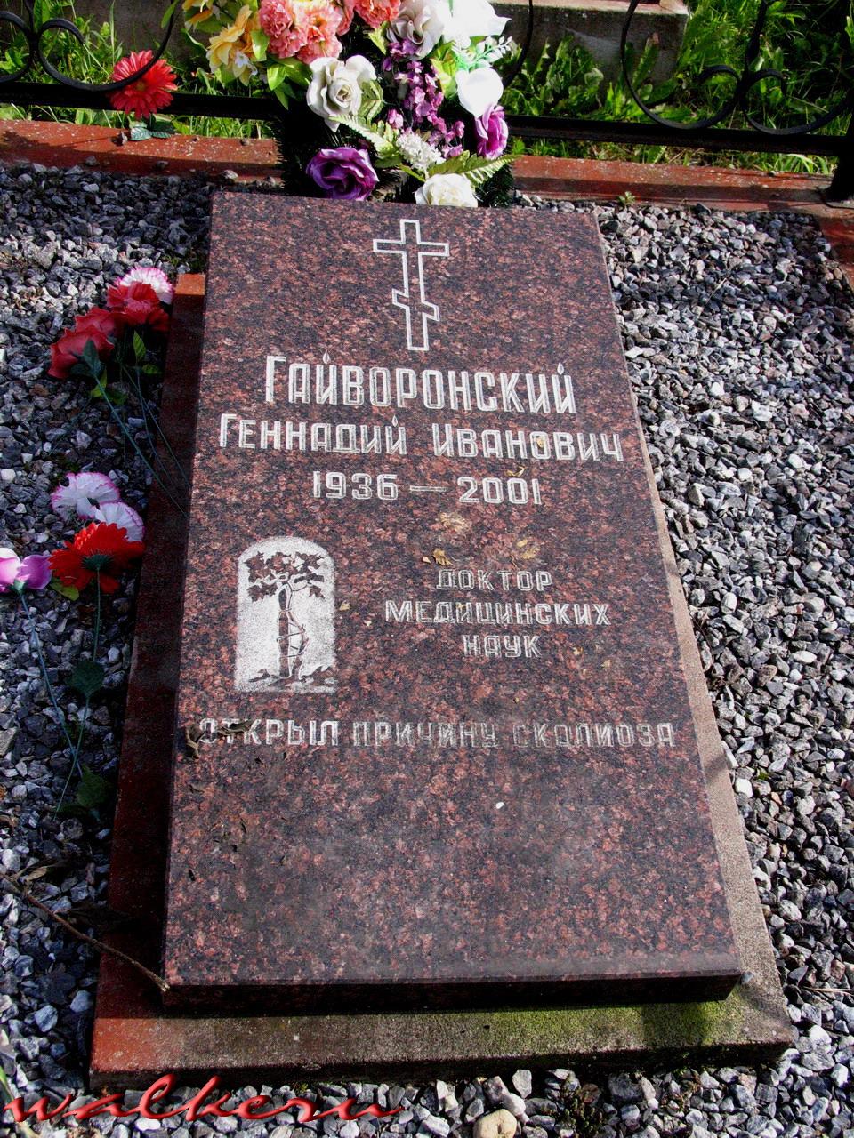Могила Гайворонского Г.И. на Кузьминском кладбище
