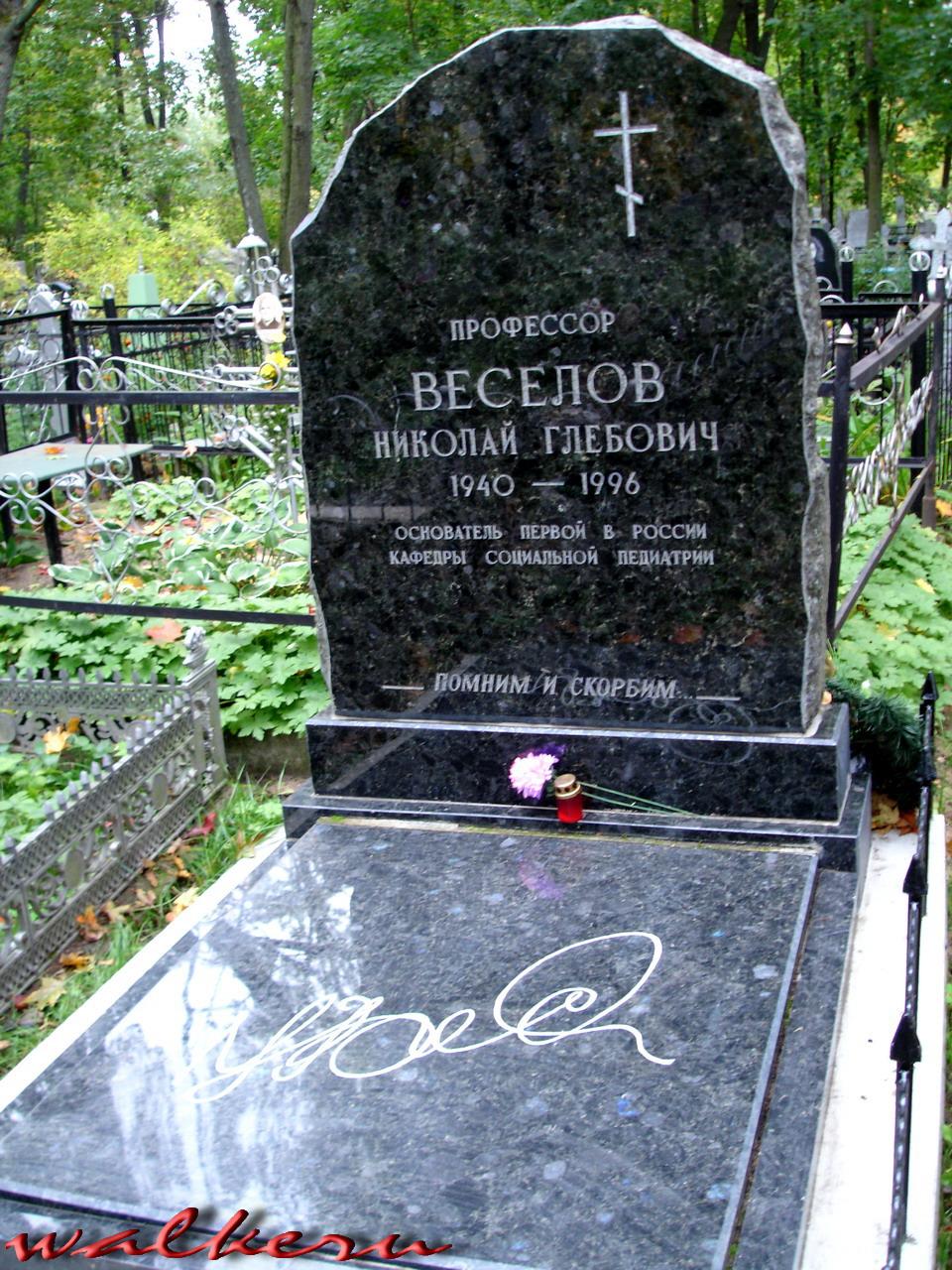 Могила Веселова Н.Г. на Кузьминском кладбище