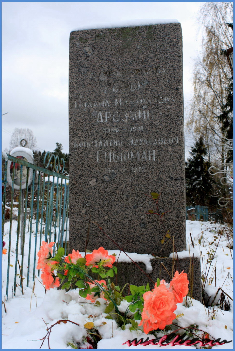 Могила Дрозжина М.М.и Гибшман К.Э.на погосте при церкви Михаила Архангела на Алеховщине