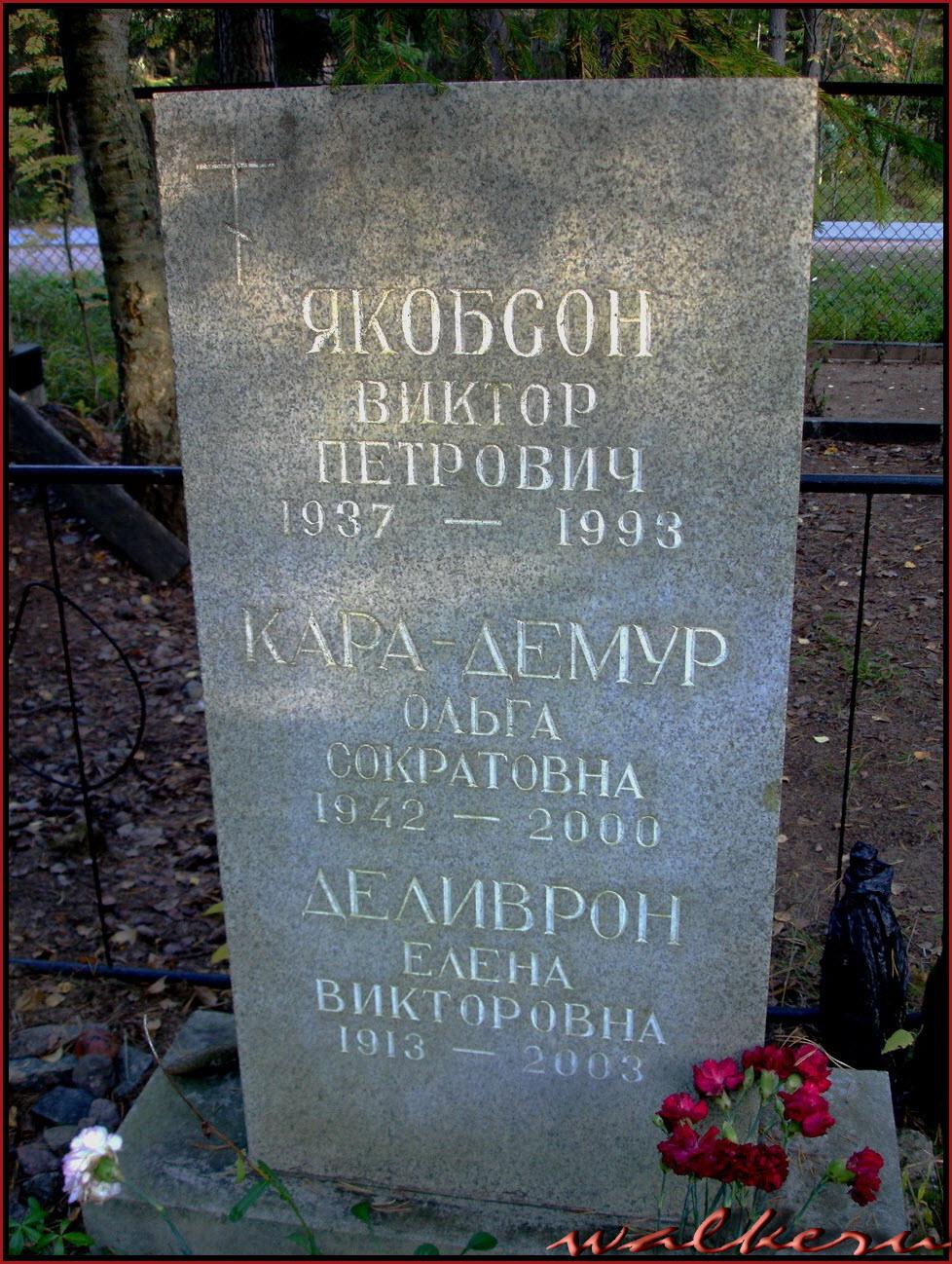 Могила Деливрон Е.В. на Комаровском кладбище