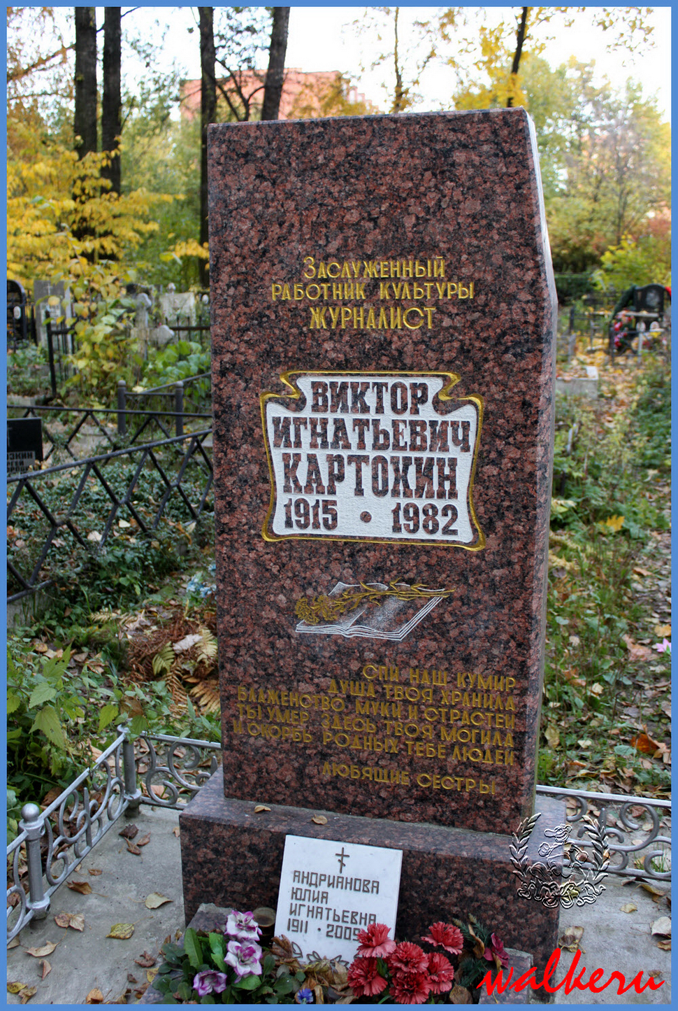 Могила Картохина В.И. на Ново-Волковском кладбище