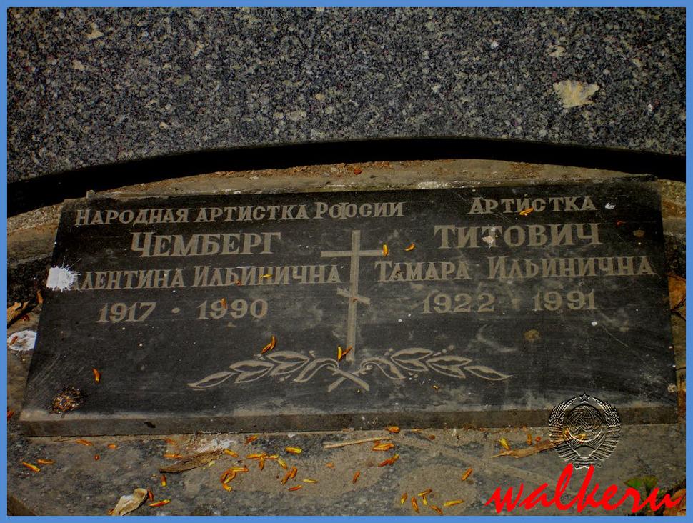 Могила Чемберг В.И. на Ново-Волковском кладбище