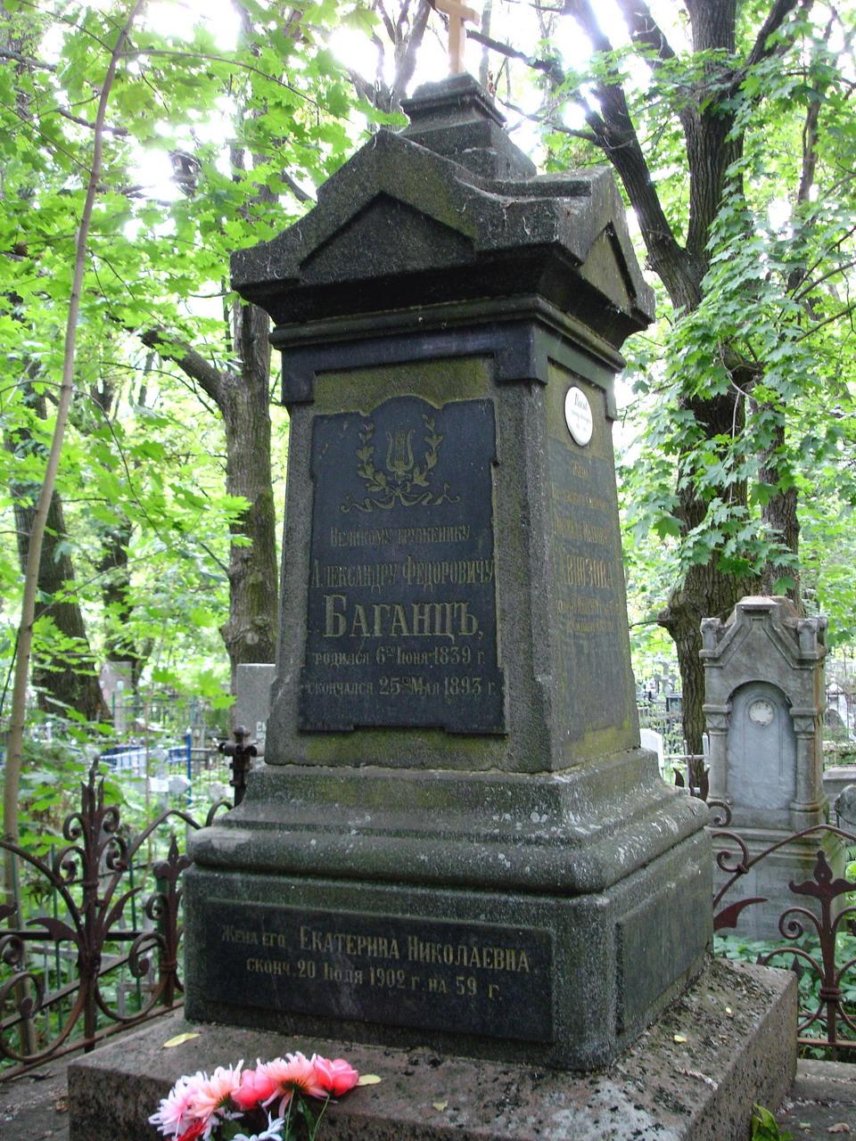 Могила Баганц А.Ф. на Стрельнинском кладбище